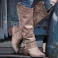 レトロな女性のジッパートールチューブレザーブーツ英国スタイルの靴オフィスレディースアウトブーツ,Dark khaki,43