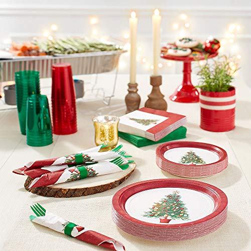 Check Out This HollyDel Christmas Party Kits; Oh Christmas Tree Tableware Kit for 100 Guests