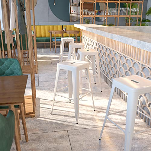 Flash Furniture Commercial Grade 30' High Backless White Metal Indoor-Outdoor BarStool with Square Seat