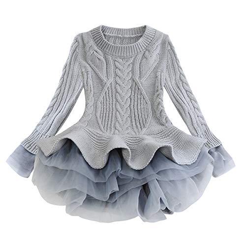 JBEELATE Toddler Girl Knit Sweater Dress Baby Girl Winter Solid Casual Long Sleeve Tutu Skirt Grey 6-7T