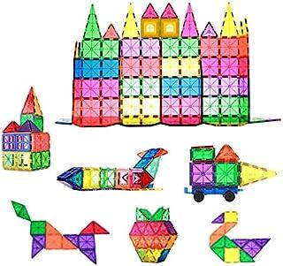 78 قطعة من مكعبات البناء المغناطيسية للأطفال - مجموعة بلاط البناء التعليمية ثلاثية الأبعاد - متينة للغاية مع مغناطيس قوي و...