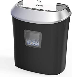 Paper Shredder,12-Sheet Cross-Cut Paper/CD/Credit Card Shredder, 5.8 Gallons Shredder for Home Office Use with Pullout Bas...
