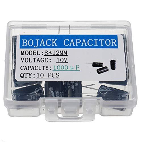 BOJACK 1000uF 10V 8X12mm Condensadores 1000 MFD 10 voltios 0.32x0.47 pulgadas ± 20% condensadores electrolíticos de aluminio (paquete de 10 piezas)