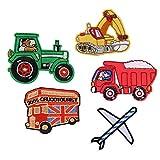 XUNHUI Mezcla de parches para tractor de vehículo bordados de dibujos animados para coche, carretilla elevadora, apliques de costura, pegatinas de ropa, 5 piezas