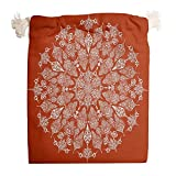 <span class='highlight'><span class='highlight'>Knowikonwn</span></span> 6 Pack Red Mandala Drawstrings Canvas Bags Reusable Toy Pouch Bag Suit for Christmas Wedding Gift Wrap Bags - Indian Style Pattern Prints White 12 * 18cm