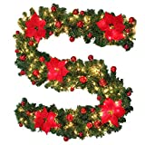 Surfmalleu Christmas Garland Premium 270 cm decoração artificial de árvores levou a grinalda de Natal com espigão de PVC a espalhar ramos 40 luzes (vermelho).