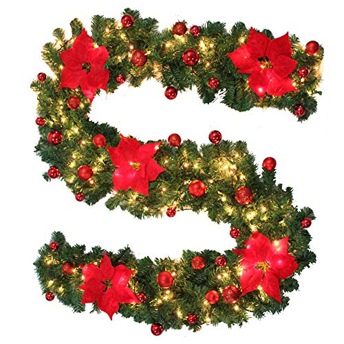 2.7M Christmas Garland With 3M LED Light String Warm White Festival Artificial Wreath Ornament Flower Ball 9FT Pre-lit Christmas Garlands Decorations for Stairs Fireplace Door Yard Tree Xmas Décor Red