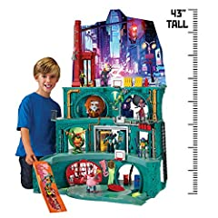 """Discover where Splinter and Turtles, live and train! This epic 43"""" Deluxe playset is packed with tons of features and more! 43"""" Tall, 4 levels of play, and 7 rooms to battle and train in Discover splinter's dojo, Raph's weight training room, Leo's ro..."""