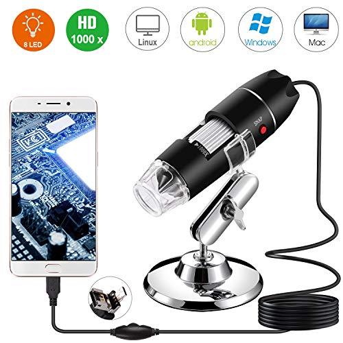 500X-1000X Mikroskop Digital,8 LED Mit 3 in 1 USB 2.0 USB-HD-Smart-Mikroskop,Usb Microscope Iphone Usb Microscope Full Hd,Für Elektronische Tests, Für Medizinische Zwecke