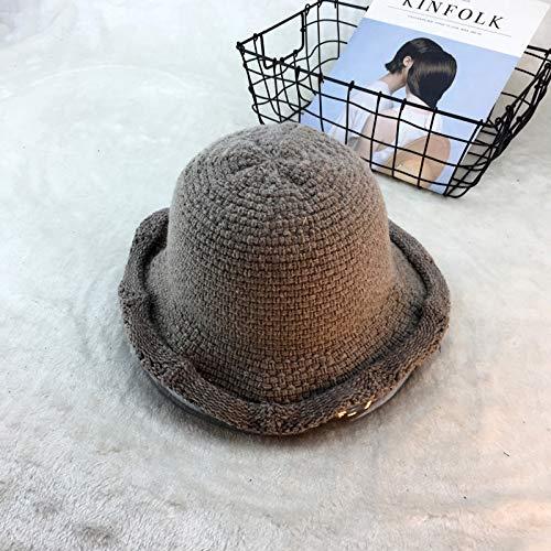 Sombrero de Pescador de Lana Que se encrespa Gorro de Cuenca de Punto Sombrero Casual de Color sólido marrón cálido M (56-58cm)