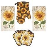 Lobyn Value Packs Golden Sunflower Kitchen Towel 5 Piece Linen Set 2 Towels 2 Pot Holders ...