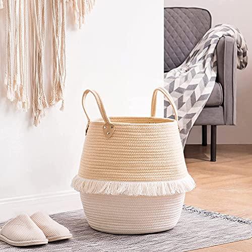Dulcicasa Cesta de tela para la ropa sucia con asa, cesta de almacenamiento bohemia, cesta para almacenamiento de juguetes, 30 x 38 x 40 cm (albaricote)