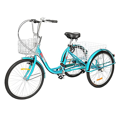 """PEXMOR Adult Tricycle, 7 Speed Trike Cruiser Bike, 24/26 Inch Three-Wheeled Bicycle with Foldable Front & Rear Basket Adjustable Height Seat for Recreation, Shopping Men's Women's Bike (Green, 24"""")"""