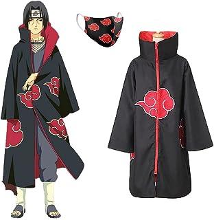 Kit Akatsuki Capa Itachi + Máscara de Proteção Forrada Vila da Folha Renegado Anime Naruto