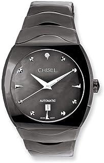 Mbxllsa - Reloj de pulsera para hombre, diseño de cincel de tungsteno y nácar, color negro