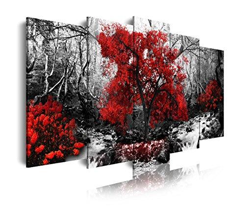 DekoArte 257 - Cuadros Modernos Impresión de Imagen Artística Digitalizada | Lienzo Decorativo para Salón o Dormitorio | Estilo Paisaje Blanco y Negro con Árboles Rojos Naturaleza | 5 Piezas 150x80cm