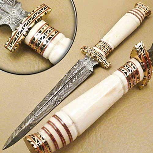 Skokie Knives Hand Made Damascus Steel Hunting Dagger Knife Handle Original Camel Bone with Perfect Grip