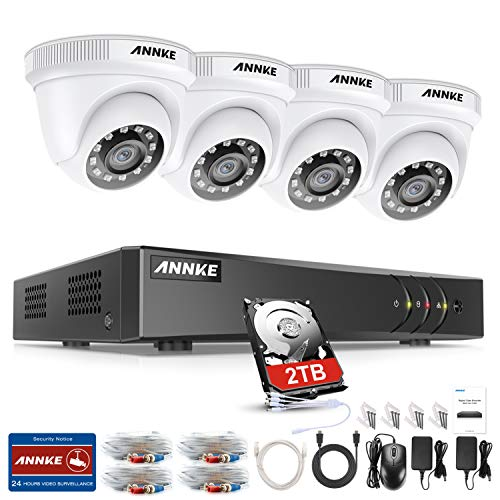 ANNKE Außen 1080P Video Überwachungsset 4CH 3MP H.265+ DVR Recorder mit 4 Outdoor 2.0MP Sicherheit Überwachungskamera Set System, 30M IR Nachtsicht, 2TB Festplatte, Bewegung Alarm