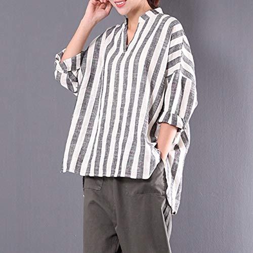 ALEIGEI Casual Blouses V-hals Shirt met lange mouwen Katoen en Linnen Streep 2019 5XL Tops Streetwear