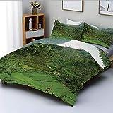 Juego de funda nórdica, imagen de arrozales en terrazas en la ladera Valle tropical Tema de agricultura de agricultura asiática Juego de cama decorativo de 3 piezas con 2 fundas de almohada, verde, el