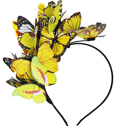 Coucoland Women's Butterfly Fascinator Headband Butterfly Headdress Hair Hoop for Wedding Costume Tea Party (Yellow)