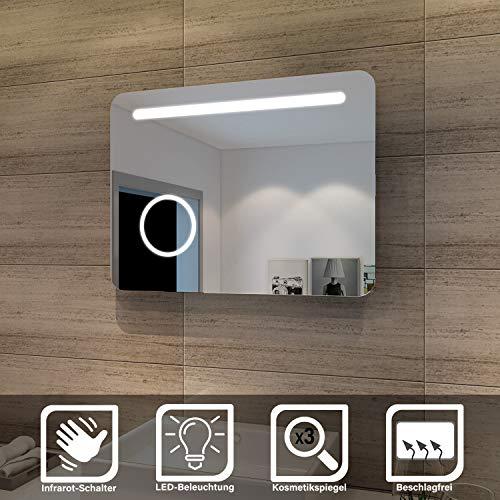 SONNI LED Bad Spiegel 80 x 60cm wandspiegel Badezimmer Lichtspiegel Badspiegel mit Beleuchtung mit Kosmetikspiegel, Sensorschalter