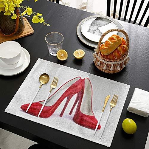 Tischsets für den Esstisch 4er-Set Rote High Heels Tischsets aus Holzmaserung Leinen Hitzebeständig für Küchentischmatten rutschfeste Isolierung Tischset schmutzabweisend 45*30cm