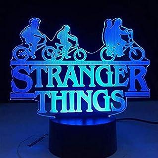 Color LED Bluetooth Mesita de noche Light3D Illusion Lamp Led Night Light Stranger Things Web Tv Series American 7 Cambio de color Sensor táctil Dormitorio Mesita de noche Lámpara El mejor regalo