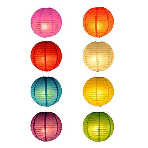 8 STK 30.5 cm Mehrfarbig rund Chinesische Papierlaternen aus Papier für Hochzeit Partei Dekoration Veranstaltung Feiern Fest