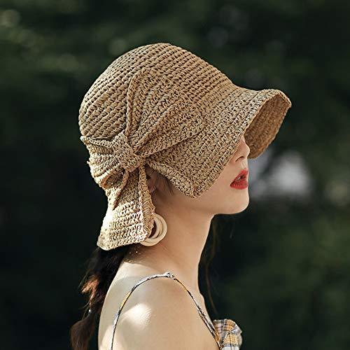 AJIAO Sombrero para El Sol Tejido A Mano 100% Césped Arco Sol Sombrero De ala Ancha Sombrero De Verano Señoras Playa Sombrero De Paja Cúpula Sombrero Sombrero Visera