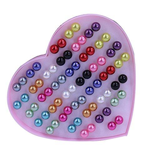 qingsb - Orecchini da donna con perle finte, a perno, anallergici, colorati, a forma di sfera, confezione da 36 paia e Acciaio inossidabile, colore: Mixed Color 10mm, cod. JO58432F773LR
