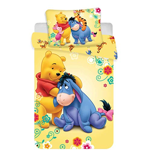 Jerry Fabrics Set di Biancheria Winnie The Pooh Disney per Bambini, in Cotone, Multicolore, Dimensioni 40 x 60 + 100 x 135 cm