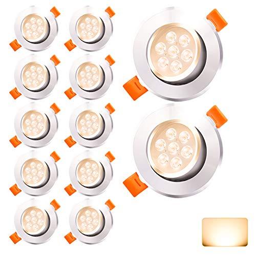 Hengda Faretti LED da Incasso per cartongesso 7W Equivalenti a 60W, 560LM Faretto da bagno Bianco Caldo 3200K Set da 12 Spot led incasso
