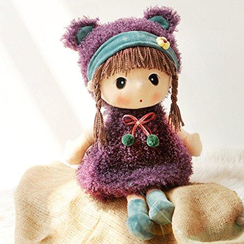 JIAHG Niedliche Puppe Plüschpuppe Mädchen Kuschelpuppe Stoffpuppe Kinder Spielzeug Püppchen für Kleinkinder als Geburtstagsgeschenk (Braun)