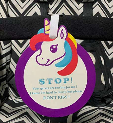 Unicorn-Don't Kiss Please Look,Don't Touch Tag W/Hanging Straps(Girl Sign, Newborn, Baby Car Seat Tag, Stroller Tag, Baby Preemie No Touching Car Seat Sign Tag)
