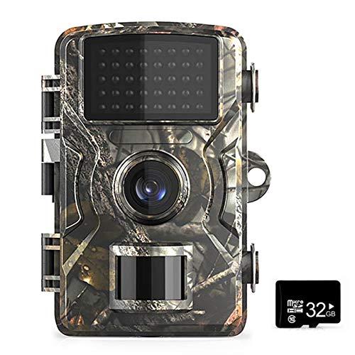 Blusea 12MP 1080P Wildkamera mit 32/16 GB TF Card 38 PCS Infrarot-LEDs und IP66 Wasserdicht Jagdkamera Nachtsichtkamera