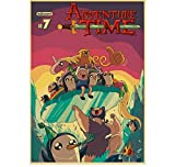 Mengyun Store Vintage Poster Cartoon Adventure Time Retro Posters Pegatinas De Pared Pintura Sin Marco Impresiones High Canvas Wall Art Mural Sz1160 (50X70Cm)