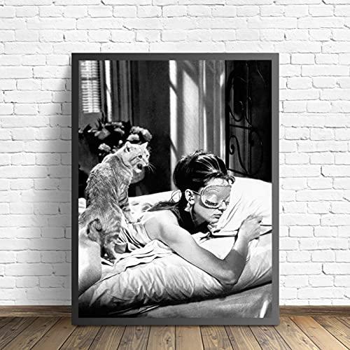 SLJZD Cuadro sobre Lienzo 30x45cm Sin Marco Póster De Película De Audrey Hepburn Breakfast At Tiffany'S, Decoración Vintage Para Pared De Dormitorio, Impresión Artística Para El Hogar