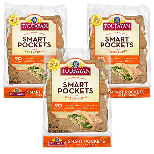 Toufayan Bakery, Everything Smart Pockets Pita Bread, Low Calorie, Naturally Vegan, Cholesterol Free and Kosher (7.4oz Bags, Pack of 3)