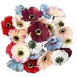 Ideen mit Herz Deko-Blüten, Kunstblumen, Blüten-Köpfe, Verschiedene Sorten, ca. Ø 4-5 cm (Anemone - Pastell - 17g)