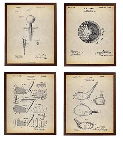 Turnip Designs Golf Patent Poster Art Prints Series Set 4 Golf Gifts for Friends Golf Decor Office Decor Golf Club Golf Ball TNP9