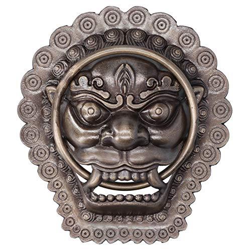 Aldabas de puerta con cabeza de león de latón antiguo, aldaba de puerta de estilo chino, anillo de puerta con cabeza de animal antiguo, piezas de repuesto para tirador de puerta de madera