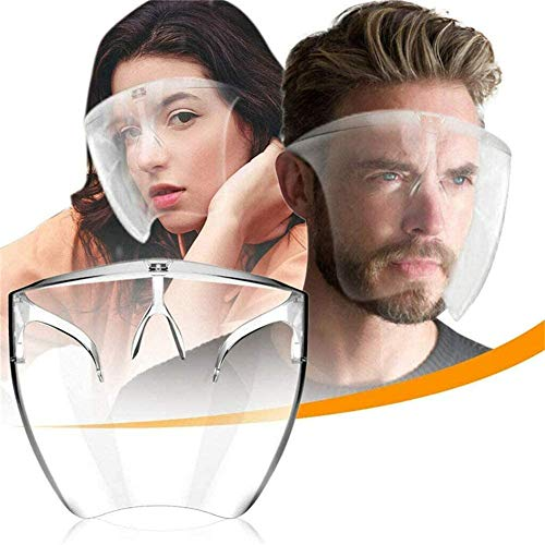 GRGM 2 Packs Transparent Face Cover Designed Fashion Style Comfort, The Full Face Protective 2020 New M+L