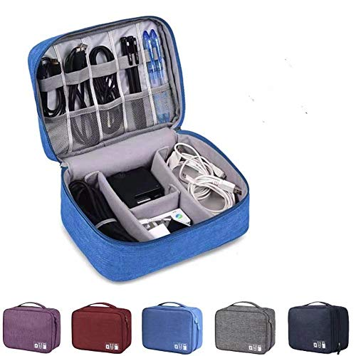kabel organizer schublade,elektronik tasche organizer Universal,Festplattentasche Kabel,Elektronik Zubehör Organisato,Stoßfeste Elektronische Tasche Reise (Blau-klein)