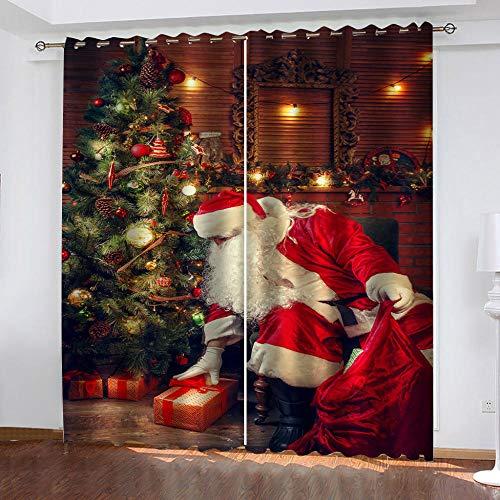 TFNIMB Cortina Opaca térmica Papá Noel para salón Dormitorio y habitación con Ojales 183 x 215 cm Moderno Oficina Niños Dormitorio Tela Cortinas Draps