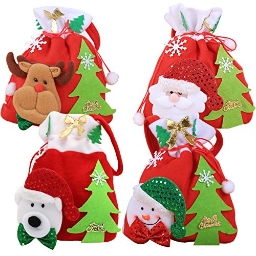 Paquete de 4 Bolsas de Dulces navideñas Sacos de Regalo navideños de Fieltro con cordón y asa Decoraciones para Fiestas navideñas