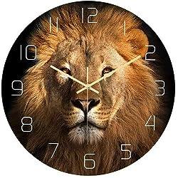 Creative Animal Lion Decorative Wall Clock, Acrylic Round Clocks, Silent Non-Ticking Quartz Clocks