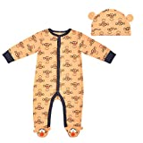 Disney Boy's Tigger Footed Coverall Bodysuit Creeper with Hat Set, Orange, Newborn