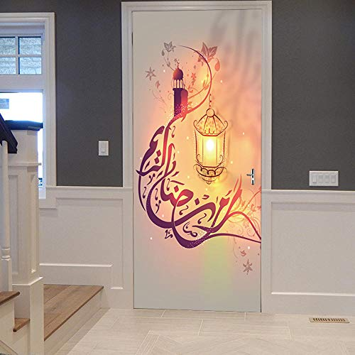 3D Mural para Puerta 90x200cm Autoadhesivo Impermeable Papel Pintado Puerta para Sala de Estar Baño Cocina Extraíble Vinilo Adhesivo de Pared,Decoración del Hogar - Musulmán