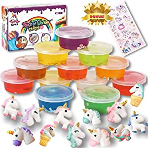 Unicorn Slime Kit for Girls Boys. 12 Slime, 12 Unicorn Charms & Unicorn Stickers. Super Soft, Fluffy & Stretchy. Unicorn Slime Party Favors, Slime for Kids. Slime kit for Boys. Clear Slime Jumbo Size.